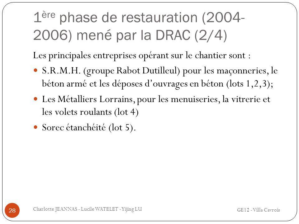 1ère phase de restauration (2004-2006) mené par la DRAC (2/4)