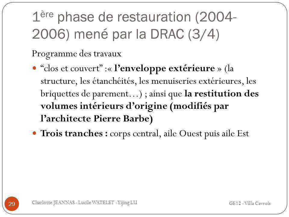 1ère phase de restauration (2004-2006) mené par la DRAC (3/4)