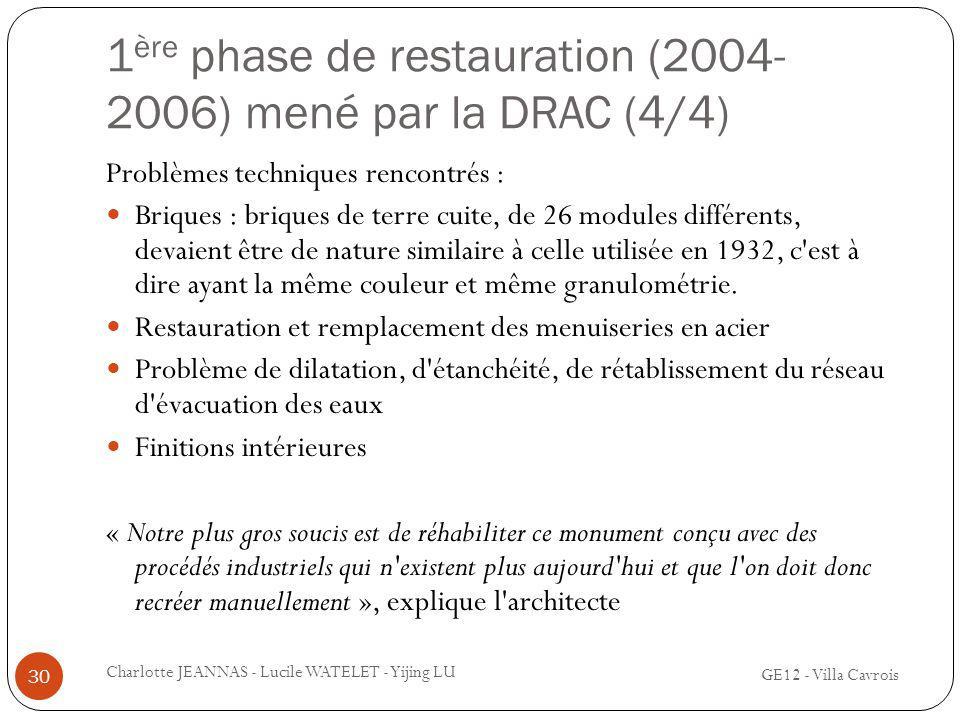 1ère phase de restauration (2004-2006) mené par la DRAC (4/4)