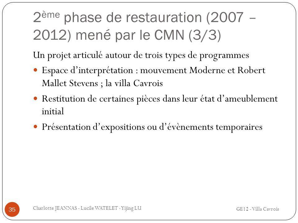 2ème phase de restauration (2007 – 2012) mené par le CMN (3/3)