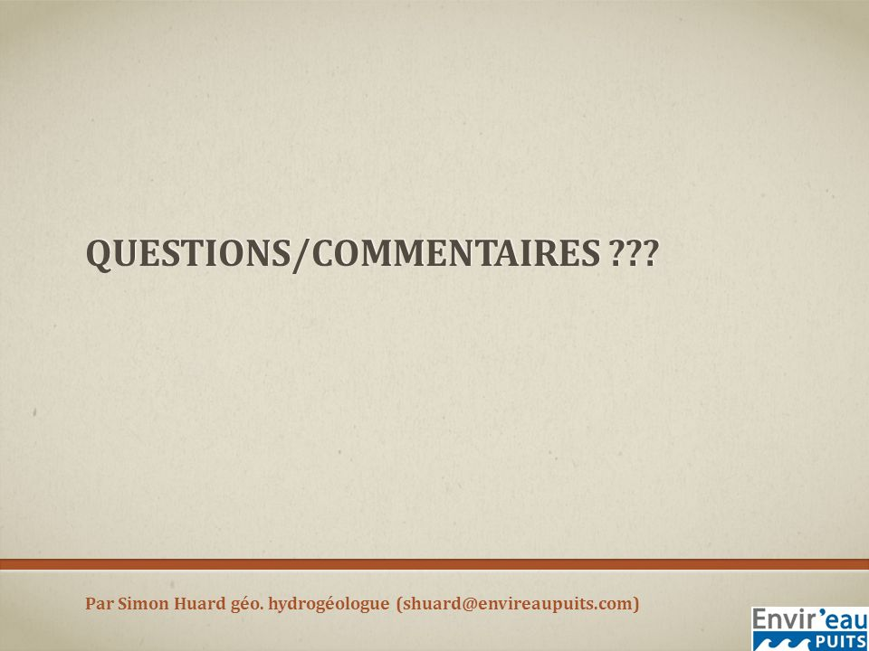 Questions/commentaires