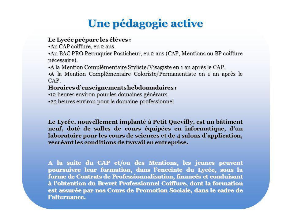 Une pédagogie active Le Lycée prépare les élèves :