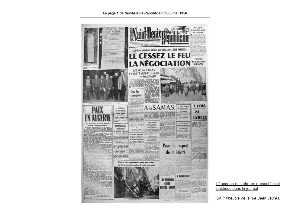 Légendes des photos présentées et publiées dans le journal