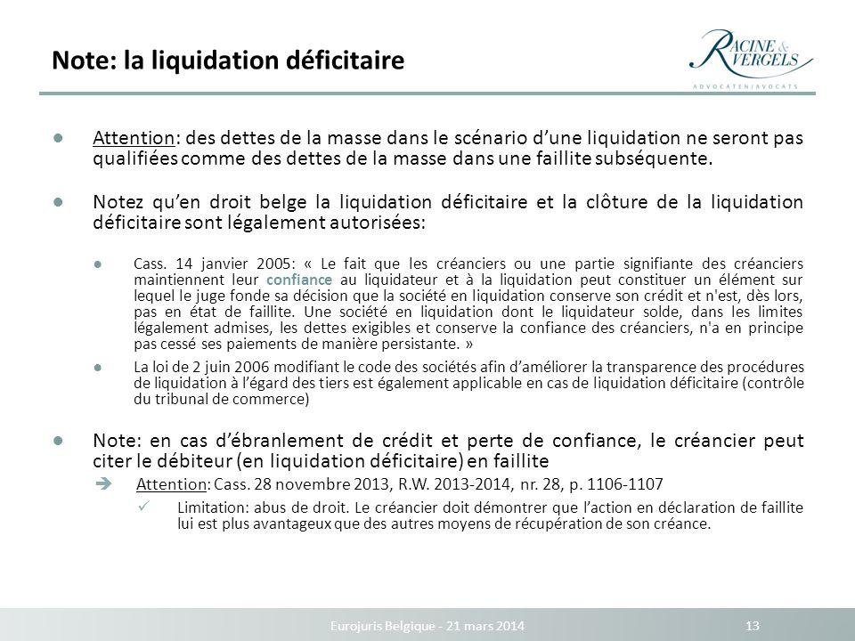 Note: la liquidation déficitaire