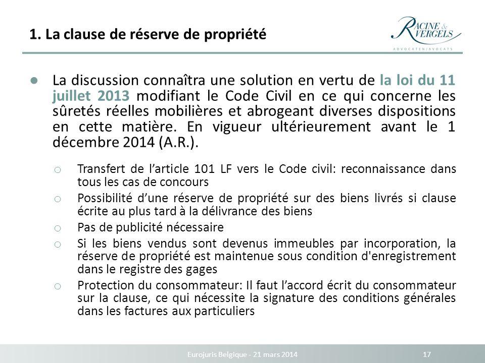 1. La clause de réserve de propriété