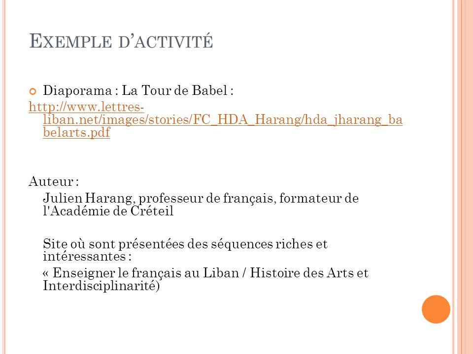 Exemple d'activité Diaporama : La Tour de Babel :