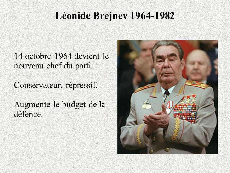 Léonide Brejnev 1964-1982 14 octobre 1964 devient le nouveau chef du parti. Conservateur, répressif.