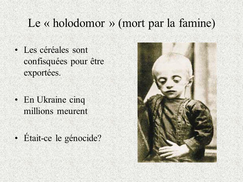 Le « holodomor » (mort par la famine)
