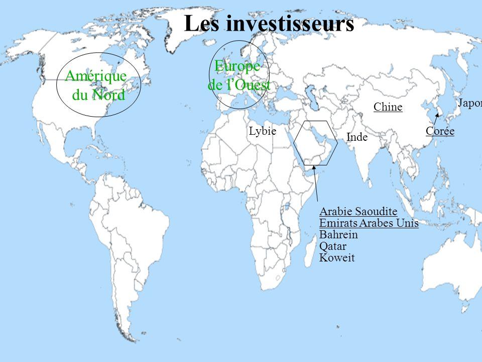 Les investisseurs Europe Amérique de l'Ouest du Nord Japon Chine Lybie