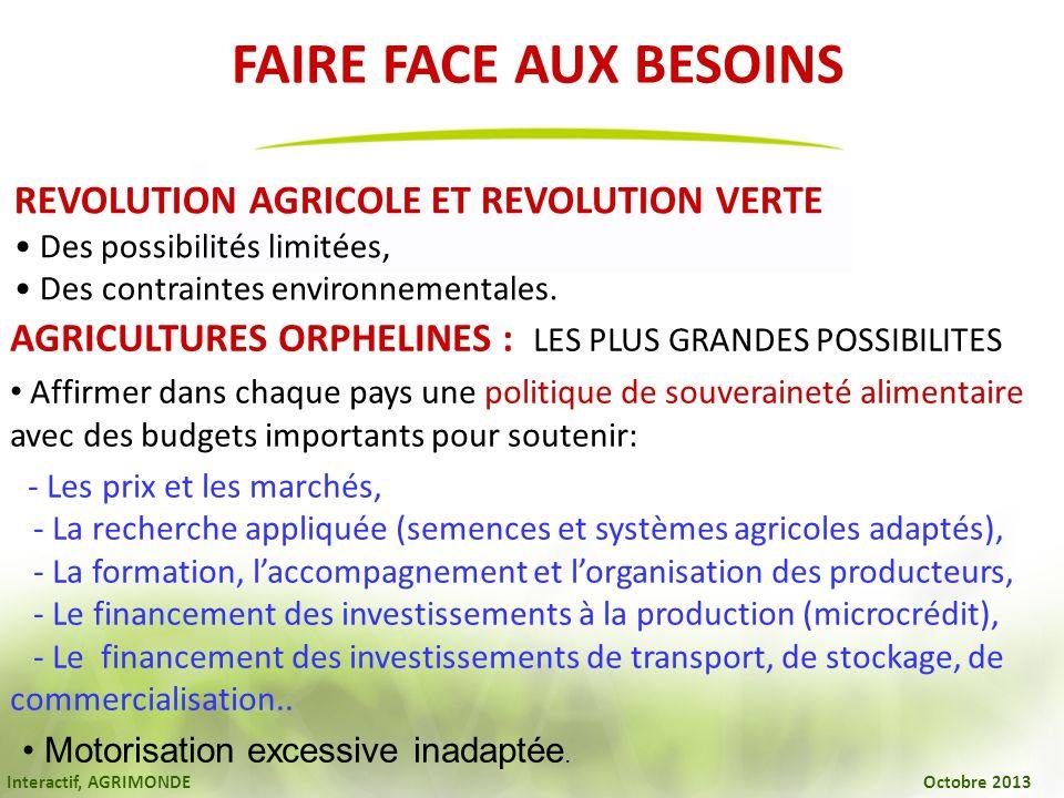FAIRE FACE AUX BESOINS REVOLUTION AGRICOLE ET REVOLUTION VERTE. • Des possibilités limitées, • Des contraintes environnementales.
