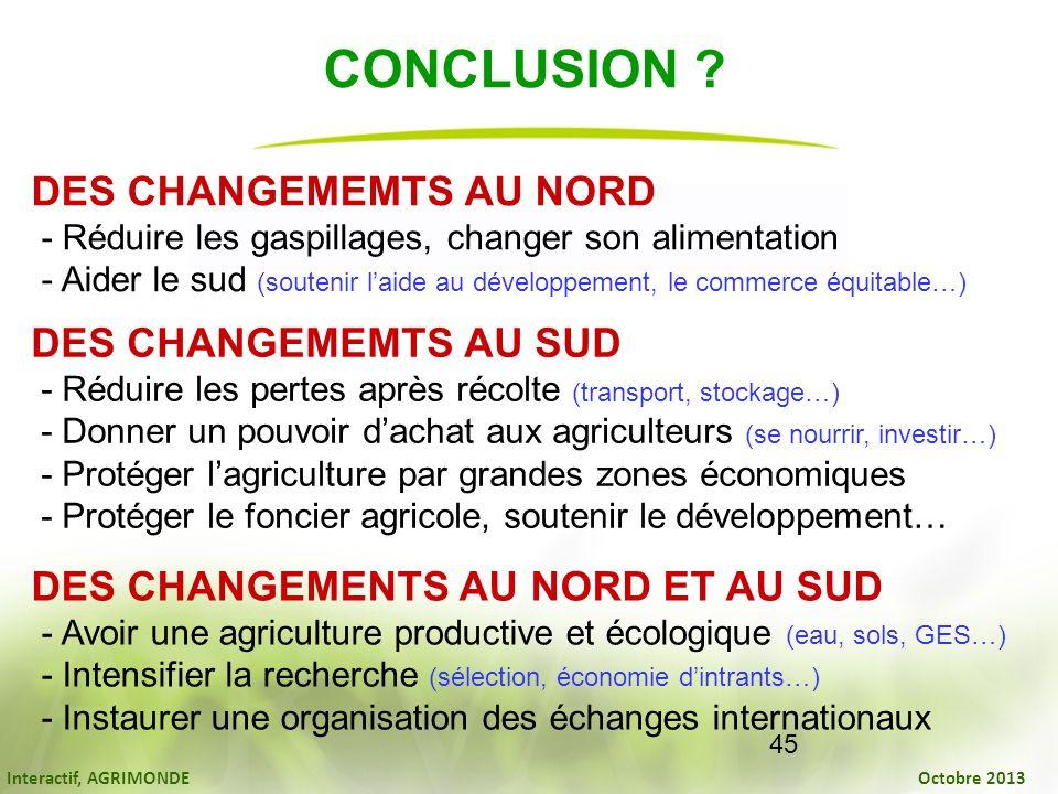CONCLUSION DES CHANGEMEMTS AU NORD DES CHANGEMEMTS AU SUD