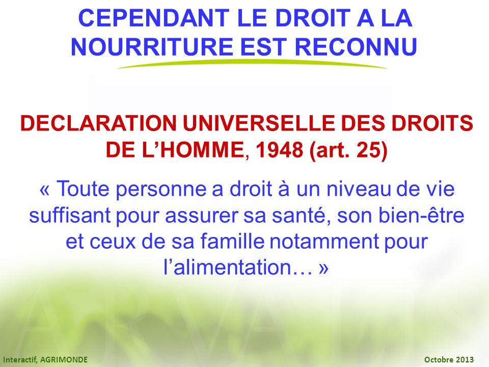 NOURRITURE EST RECONNU DECLARATION UNIVERSELLE DES DROITS