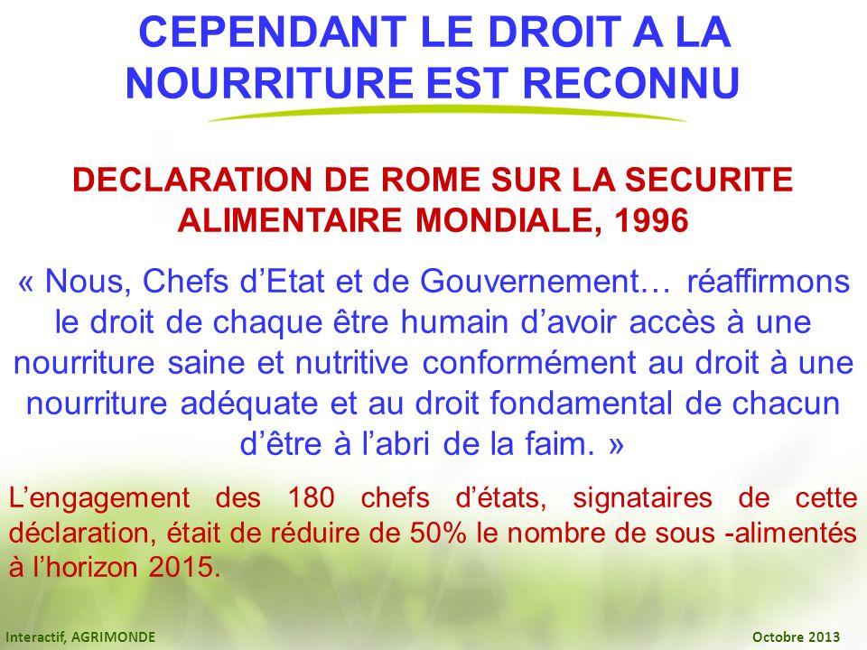 NOURRITURE EST RECONNU DECLARATION DE ROME SUR LA SECURITE