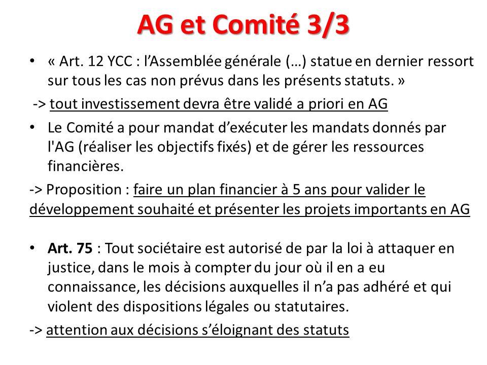 AG et Comité 3/3 « Art. 12 YCC : l'Assemblée générale (…) statue en dernier ressort sur tous les cas non prévus dans les présents statuts. »