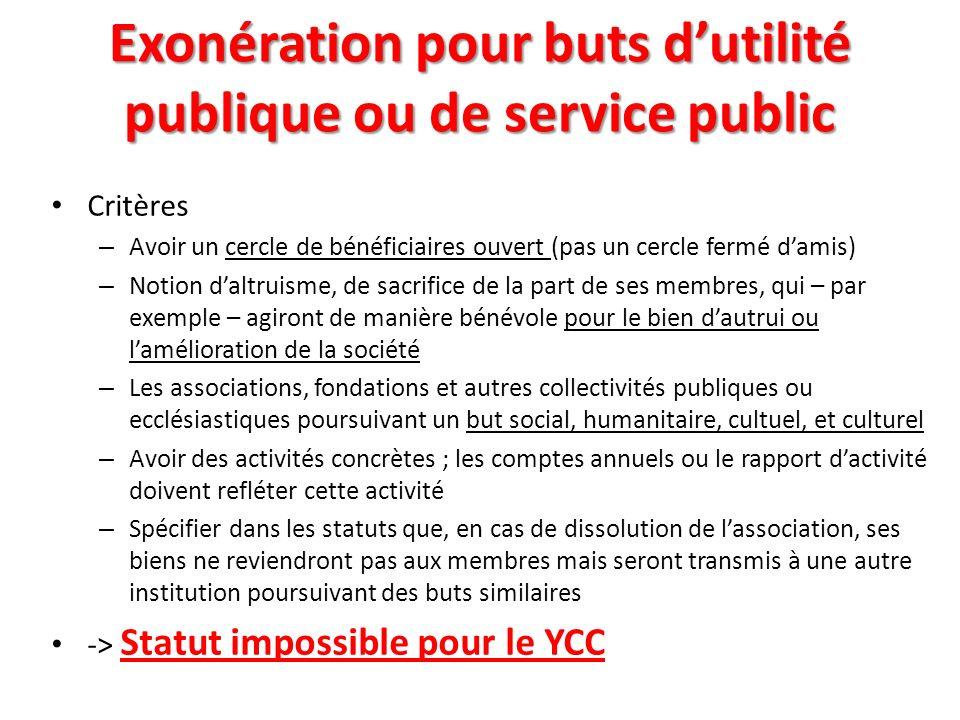 Exonération pour buts d'utilité publique ou de service public