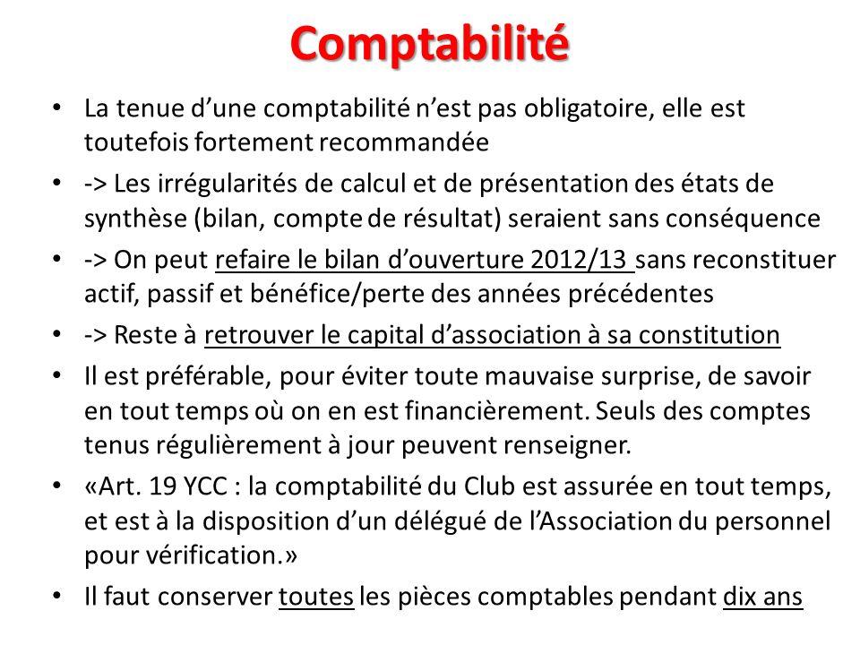 Comptabilité La tenue d'une comptabilité n'est pas obligatoire, elle est toutefois fortement recommandée.