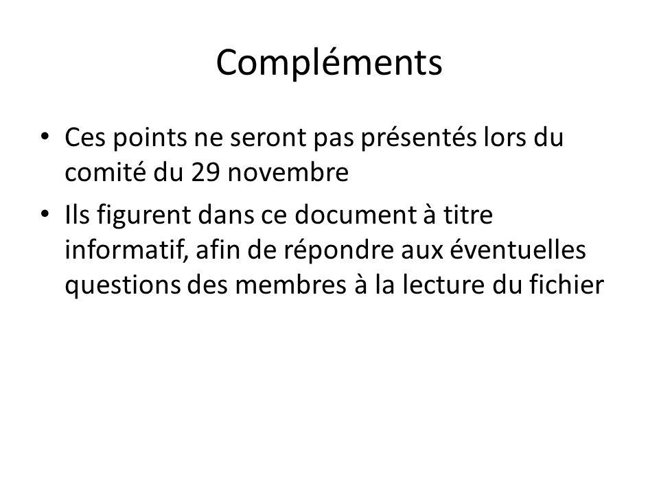 Compléments Ces points ne seront pas présentés lors du comité du 29 novembre.