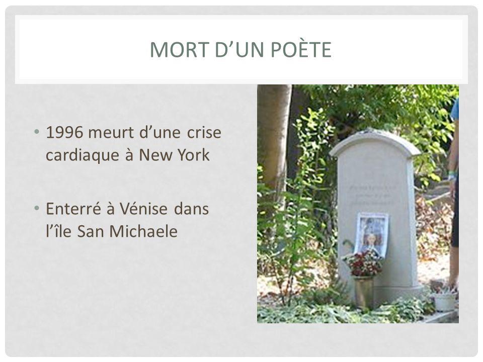 Mort d'un poète 1996 meurt d'une crise cardiaque à New York