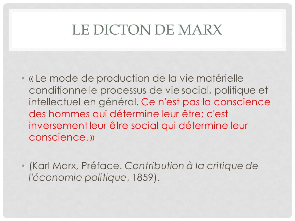 Le dicton de Marx