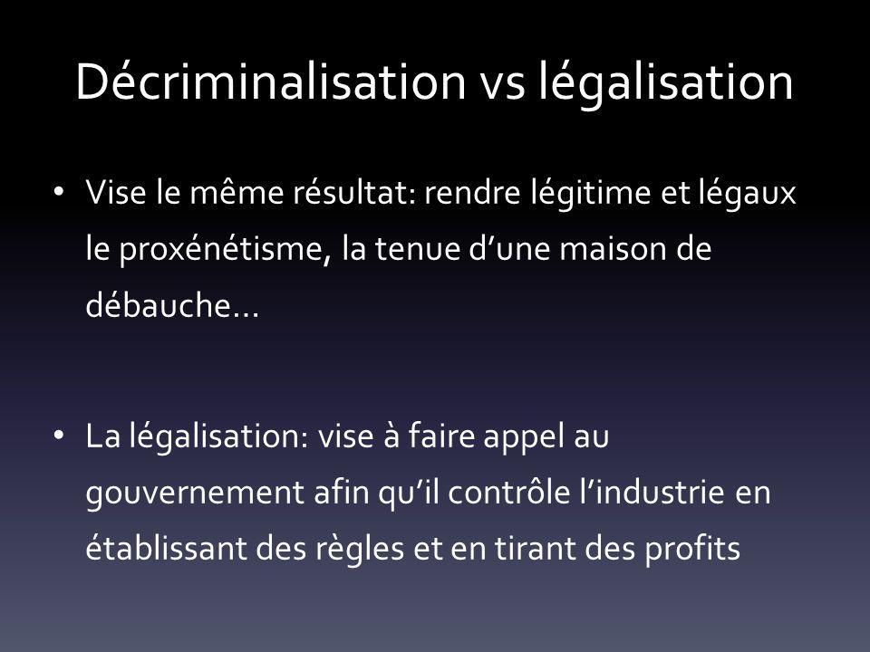 Décriminalisation vs légalisation