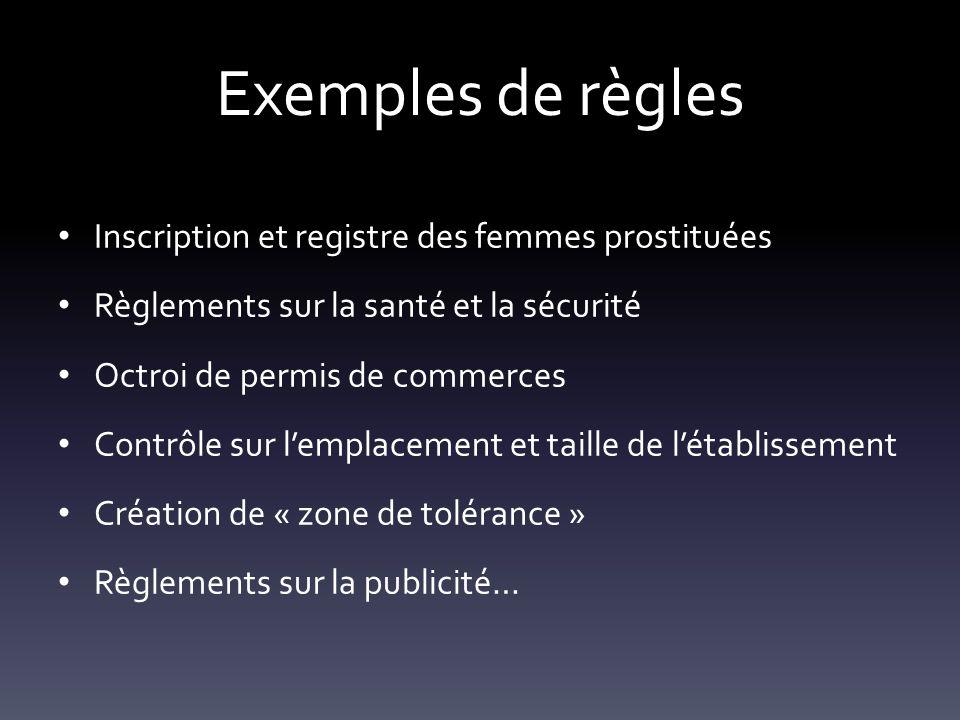 Exemples de règles Inscription et registre des femmes prostituées