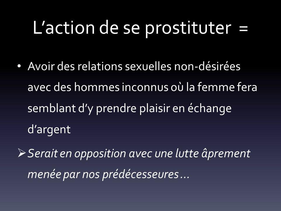 L'action de se prostituter =