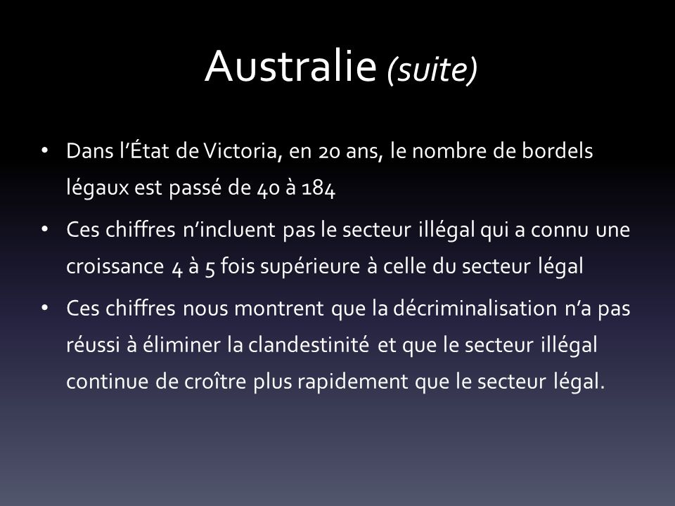 Australie (suite) Dans l'État de Victoria, en 20 ans, le nombre de bordels légaux est passé de 40 à 184.
