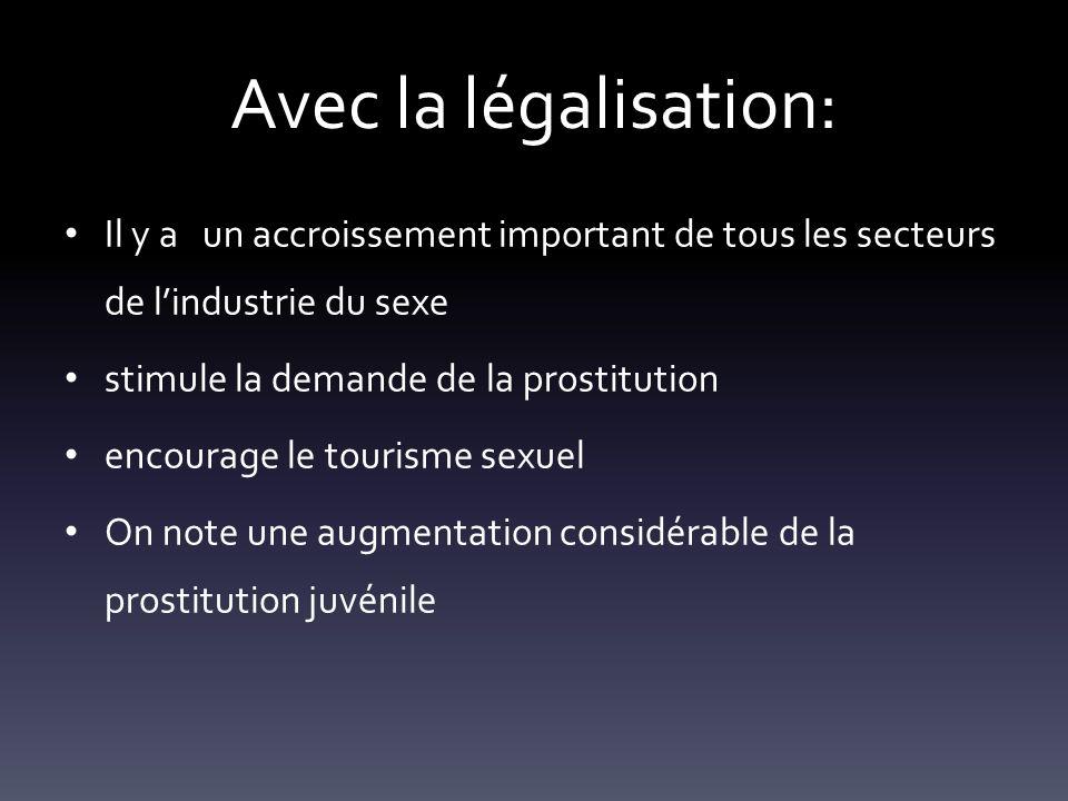 Avec la légalisation: Il y a un accroissement important de tous les secteurs de l'industrie du sexe.
