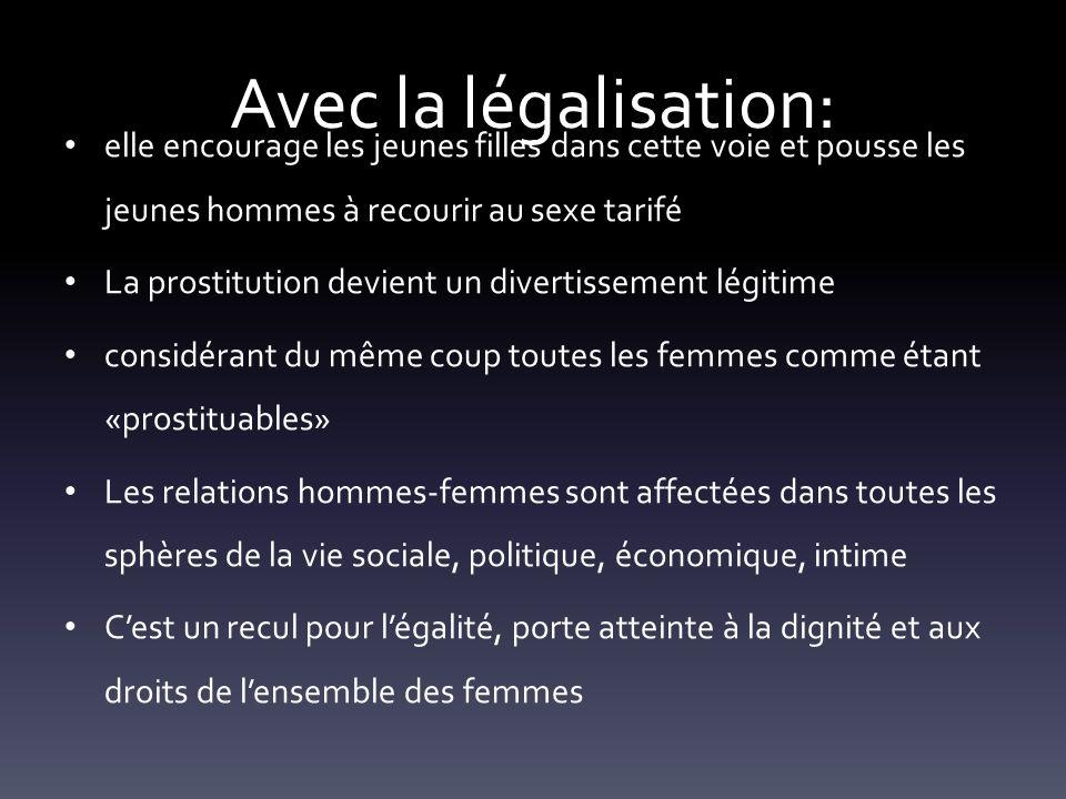 Avec la légalisation: elle encourage les jeunes filles dans cette voie et pousse les jeunes hommes à recourir au sexe tarifé.