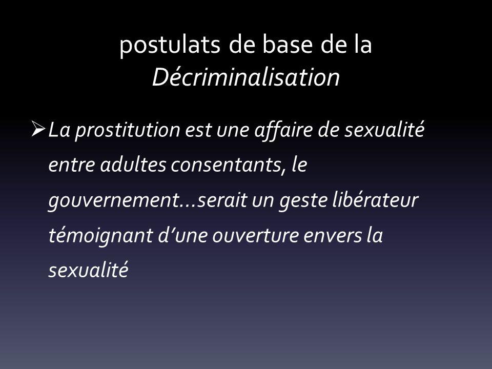 postulats de base de la Décriminalisation