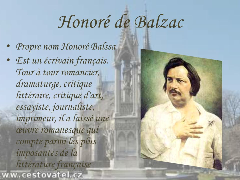 Honoré de Balzac Propre nom Honoré Balssa