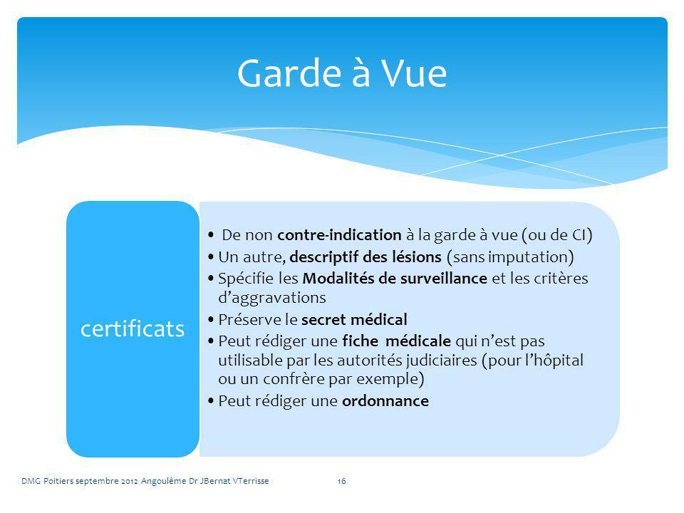 Garde à Vue certificats