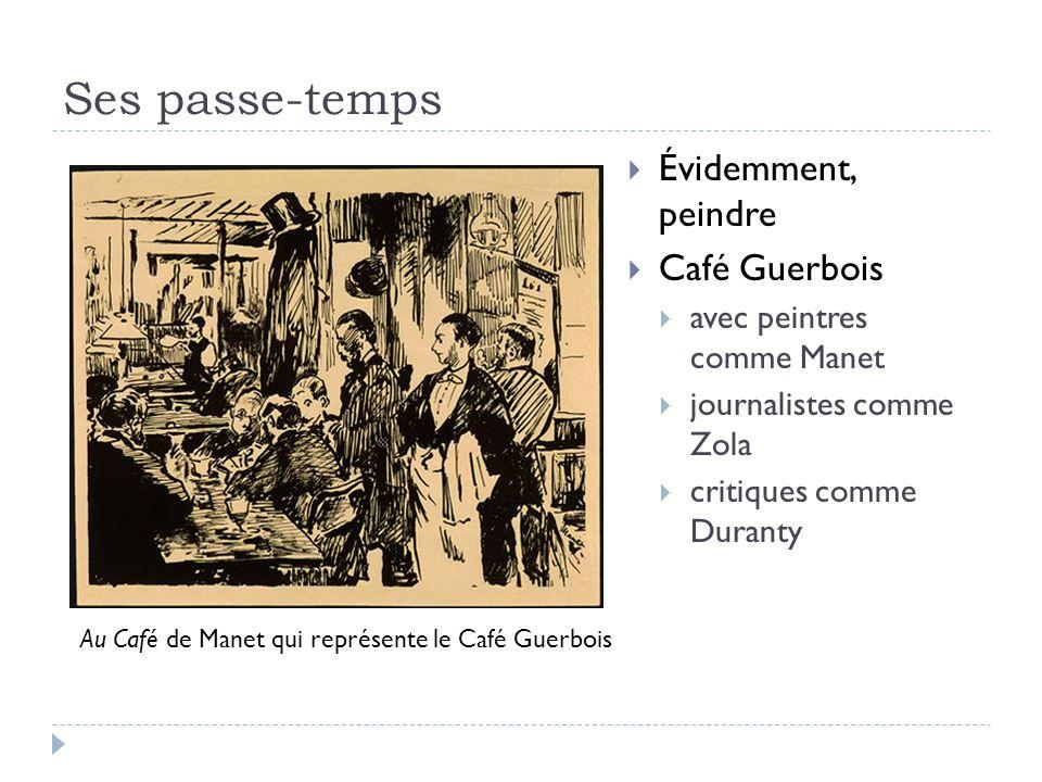 Ses passe-temps Évidemment, peindre Café Guerbois