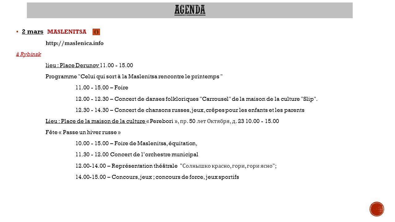 agenda 2 mars MASLENITSA http://maslenica.info à Rybinsk