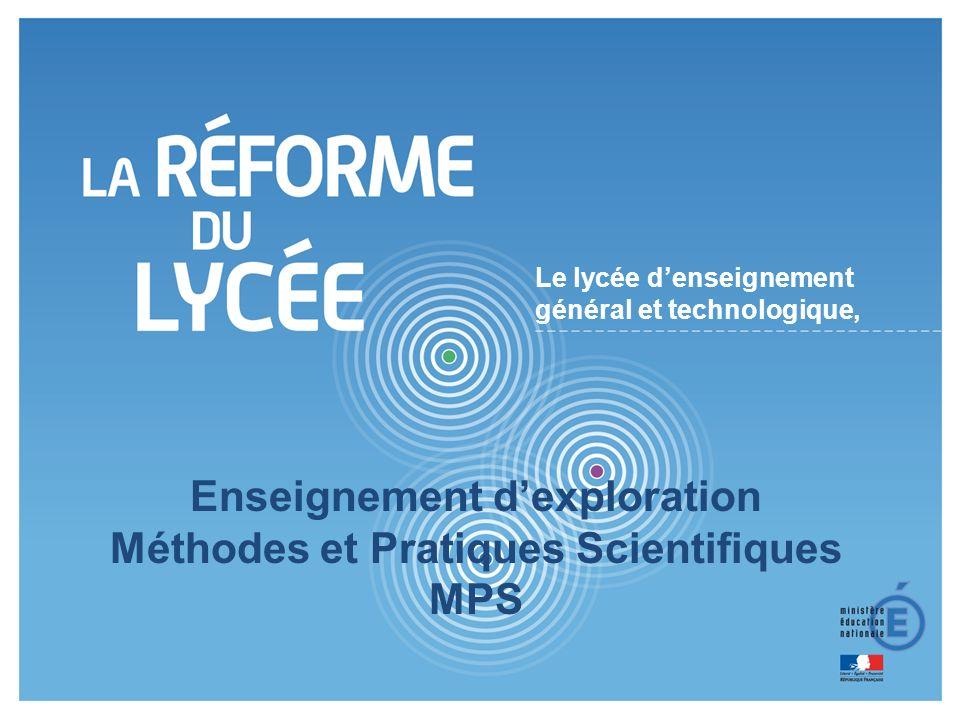 Enseignement d'exploration Méthodes et Pratiques Scientifiques MPS