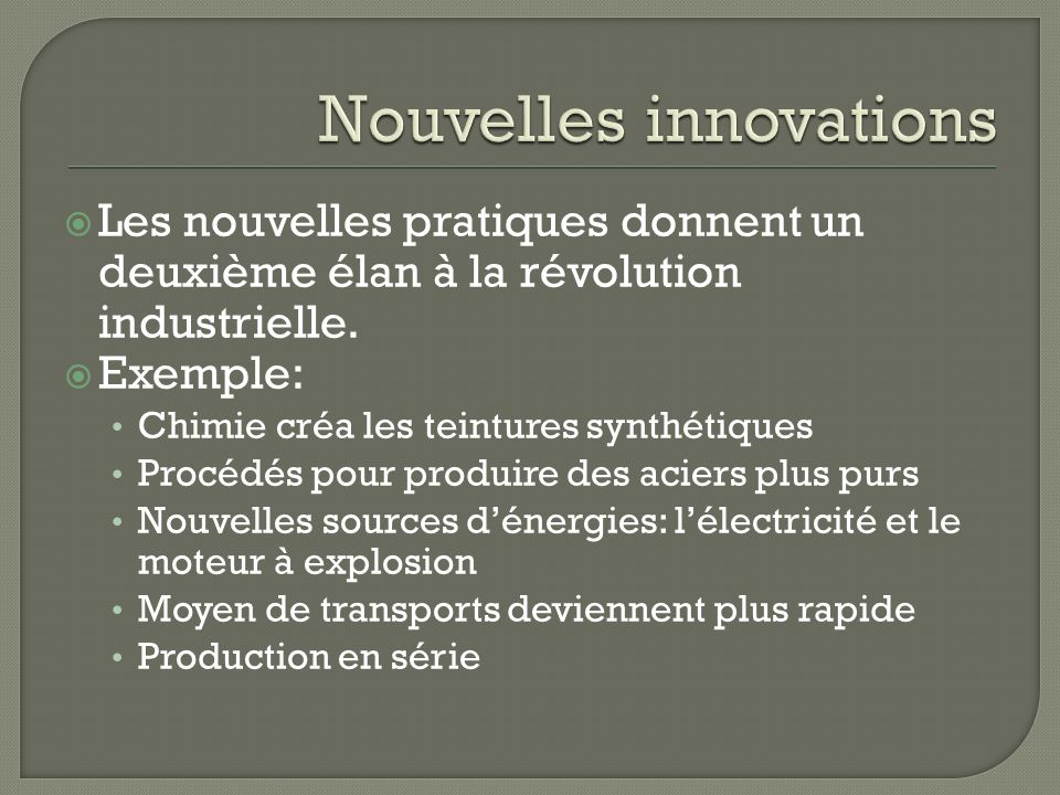 Nouvelles innovations