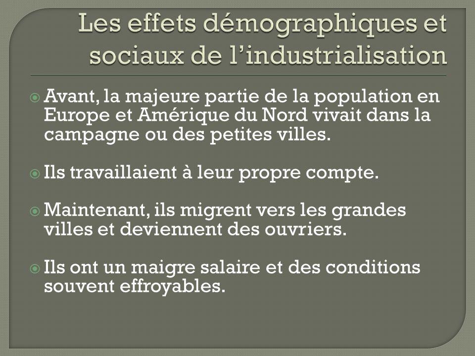 Les effets démographiques et sociaux de l'industrialisation