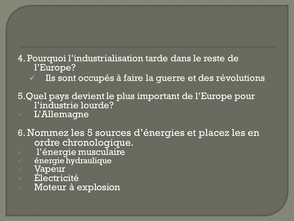 4. Pourquoi l'industrialisation tarde dans le reste de l'Europe