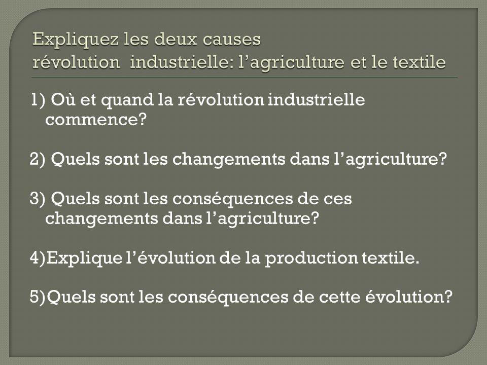 Expliquez les deux causes révolution industrielle: l'agriculture et le textile