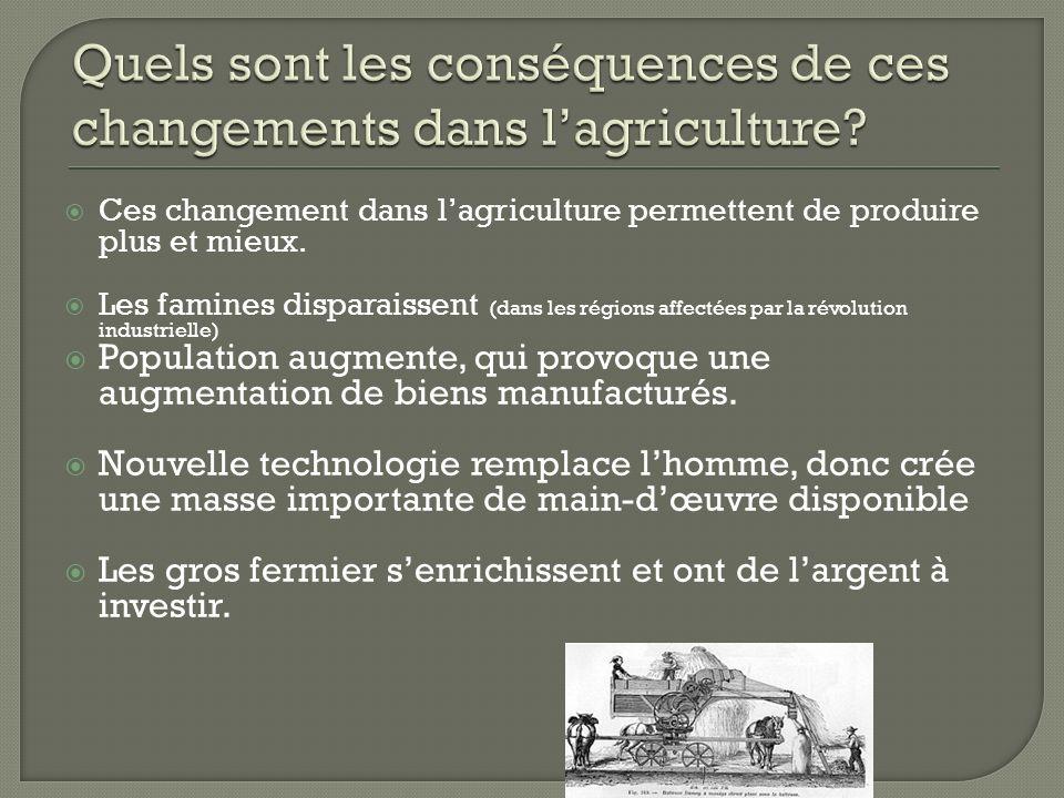 Quels sont les conséquences de ces changements dans l'agriculture