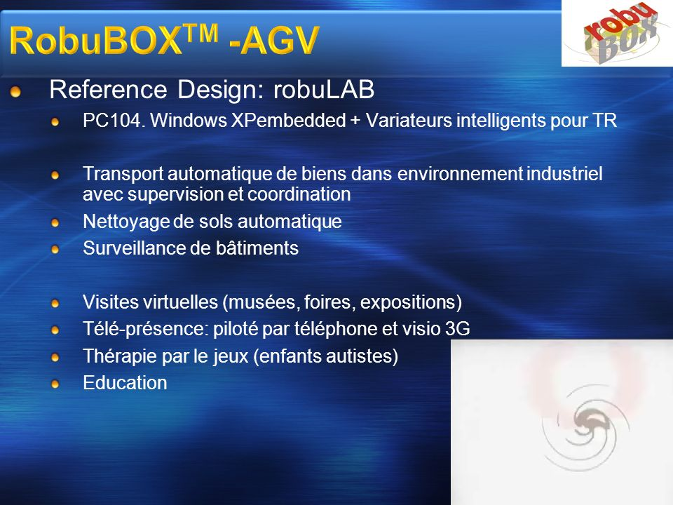 RobuBOXTM -AGV Reference Design: robuLAB