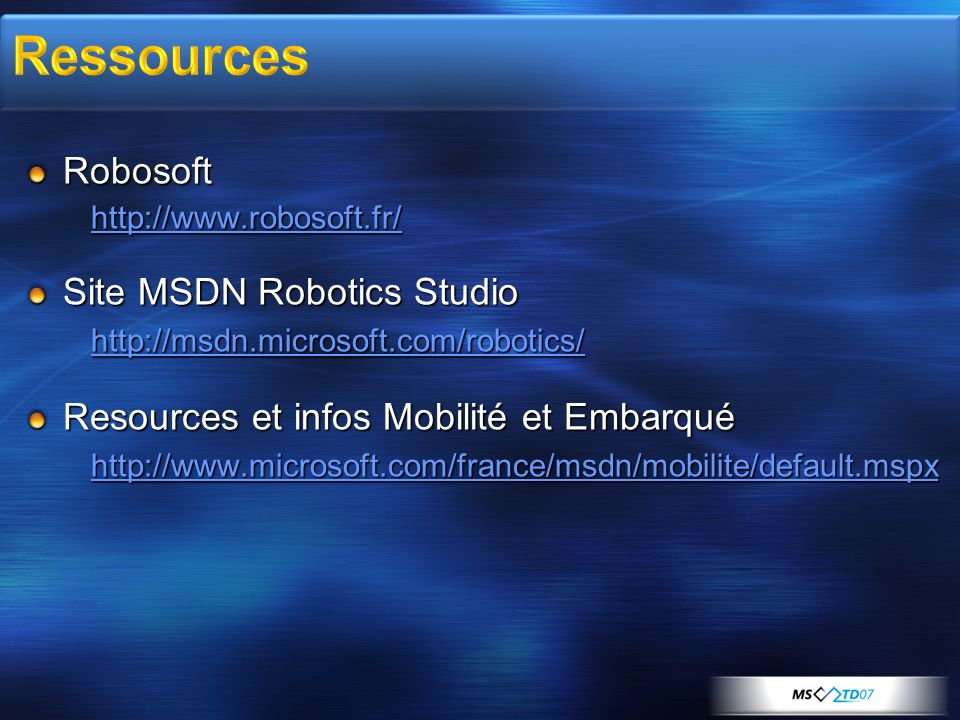 Ressources Robosoft Site MSDN Robotics Studio