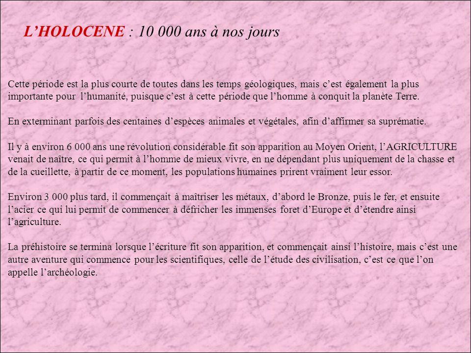 L'HOLOCENE : 10 000 ans à nos jours