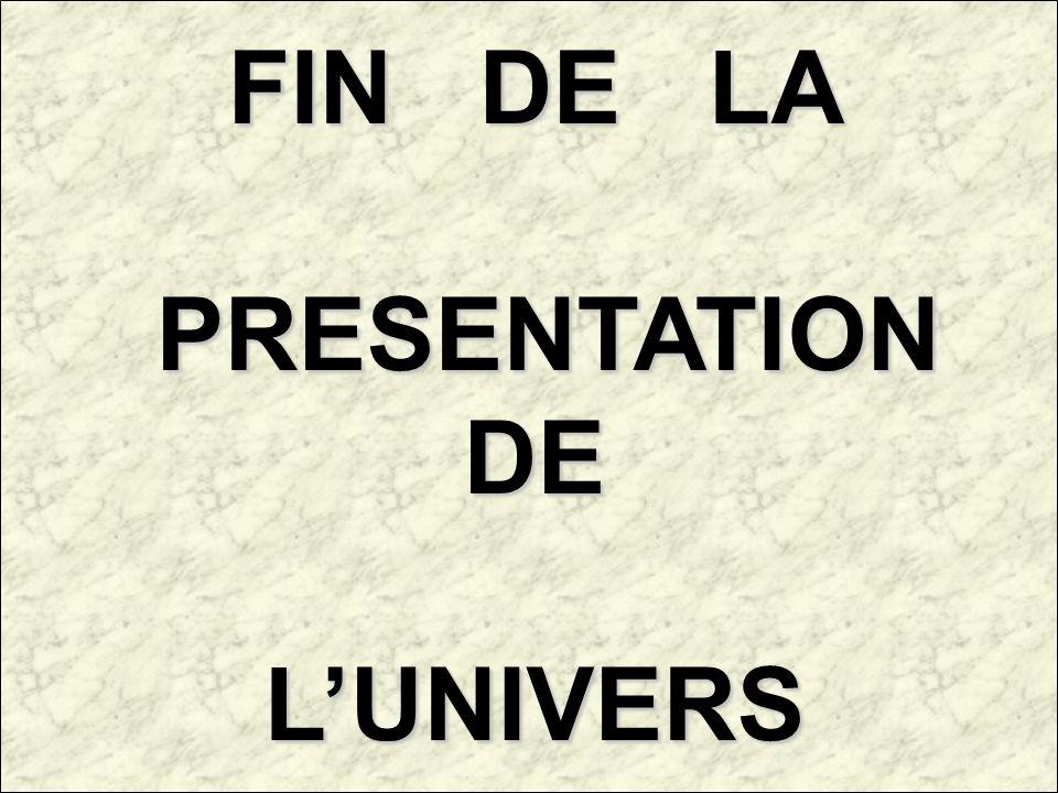 FIN DE LA PRESENTATION DE L'UNIVERS