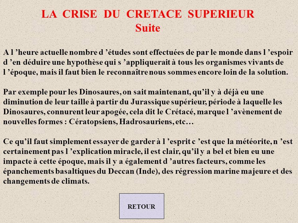 LA CRISE DU CRETACE SUPERIEUR