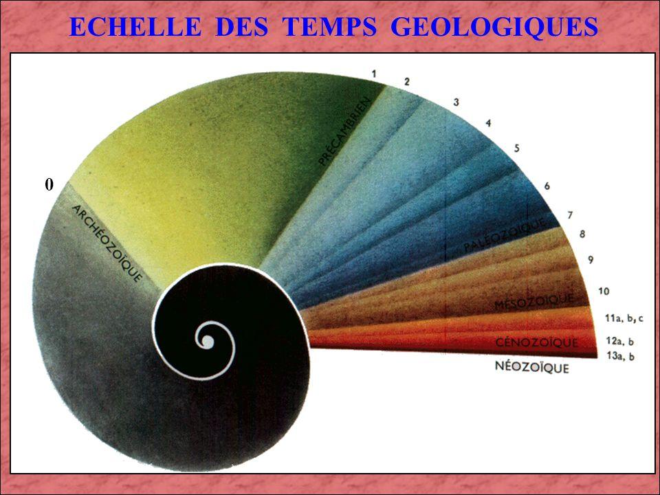 ECHELLE DES TEMPS GEOLOGIQUES