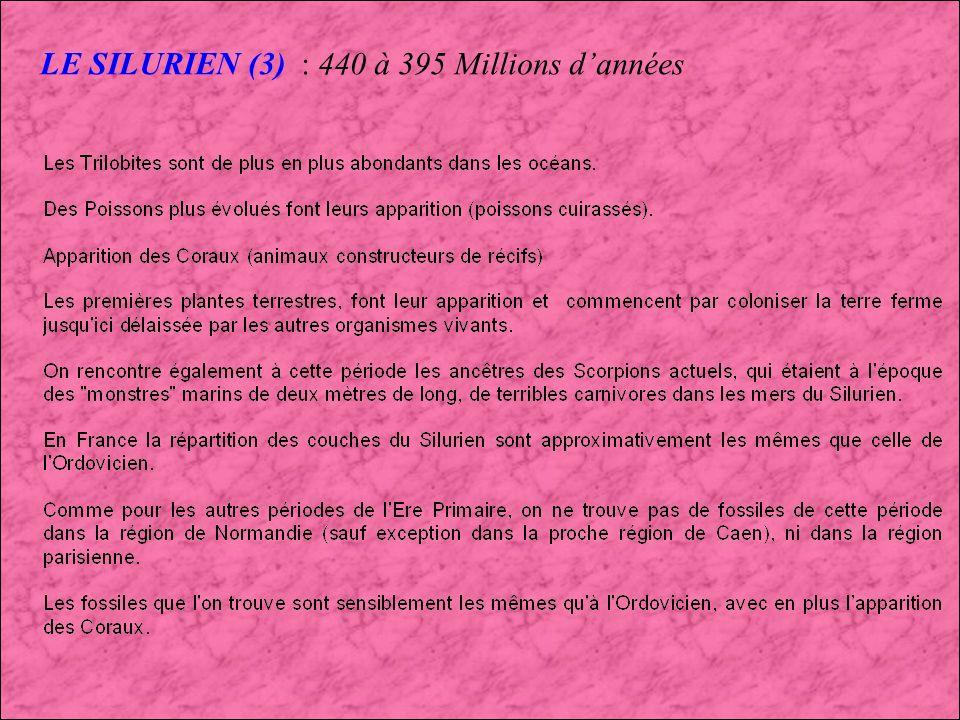 LE SILURIEN (3) : 440 à 395 Millions d'années