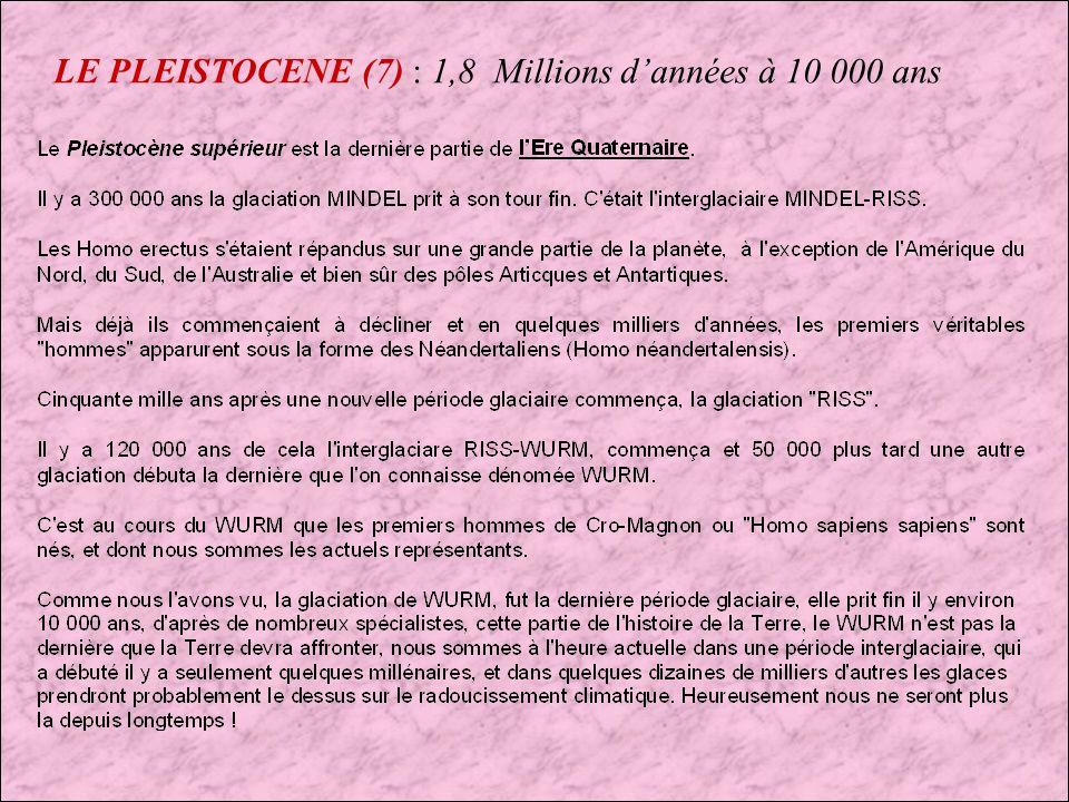 LE PLEISTOCENE (7) : 1,8 Millions d'années à 10 000 ans
