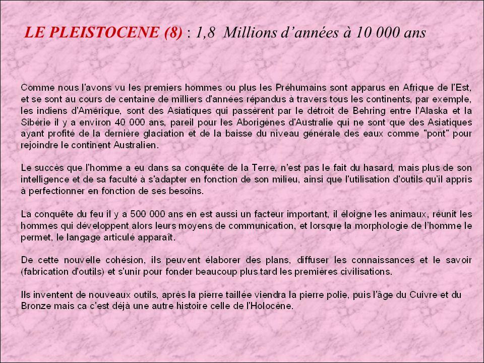 LE PLEISTOCENE (8) : 1,8 Millions d'années à 10 000 ans