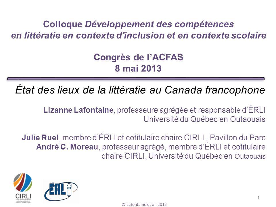 État des lieux de la littératie au Canada francophone
